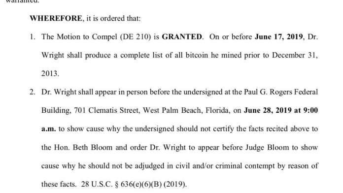 Judge Orders Craig Wright to Physically Appear in Florida Lawsuit