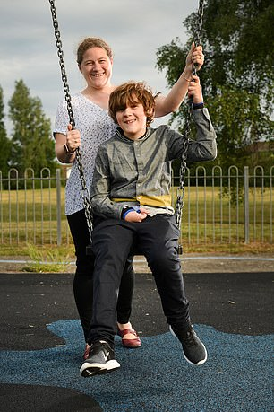 Alex(pictured with his mother aged 14) caught chickenpox in March 2011 when he was six, from a family friend. He later suffered a strokecaused by the infection