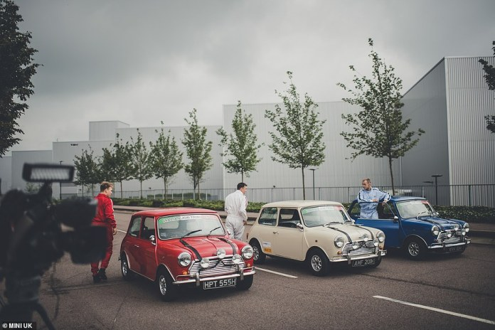 The red, white and blue Minis capture the colours of the Union Jack to celebrate a great British car film