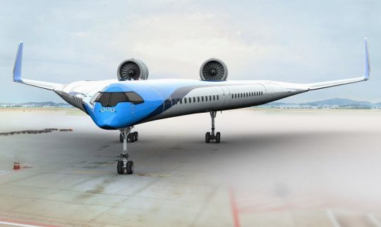 METRO GRAB - Flying-V plane of the future will carry passengers in its wings From KLM https://news.klm.com/klm-and-tu-delft-join-forces-to-make-aviation-more-sustainable/