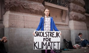 Greta Thunberg protests outside the Swedish parliament in Stockholm.