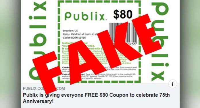 $80 Publix coupon circulating on Facebook is fake - WSVN