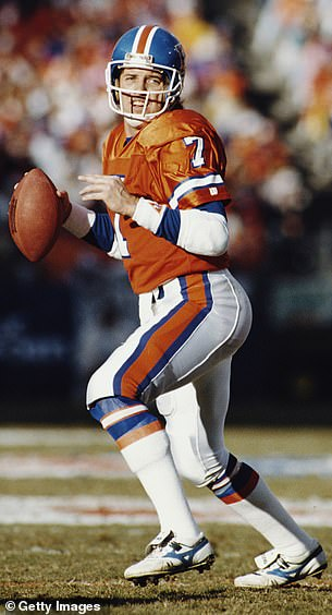 The former quarterback of the Denver Broncos underwent a non-surgical option to straighten his fingers two years ago. Pictured: Elwayduring a game against the Pittsburgh Steelers in January 1990