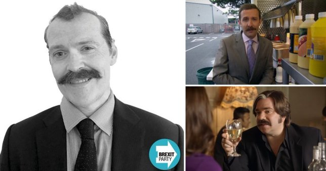 Brexit Party candidate Marc Bozza next to two sitcom characters