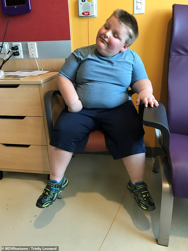 Peter is an active boy and eats healthily, his mother says, but still gains staggering amounts of weight
