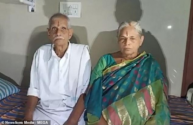 Erramatti Mangayamma, from India's Andhra Pradesh state, gave birth to twin girls this morning with her husband of 57 years, Raja Rao, 78, by her side (pictured together)