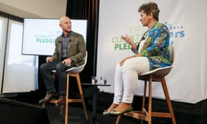 Amazon CEO Jeff Bezos and Christiana Figueres, the UN's former climate change chief, at the event in Washington earlier today.