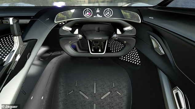 The Jaguar Vision Gran Turismo Coupé (pictured above) features a dynamic holographic dashboard