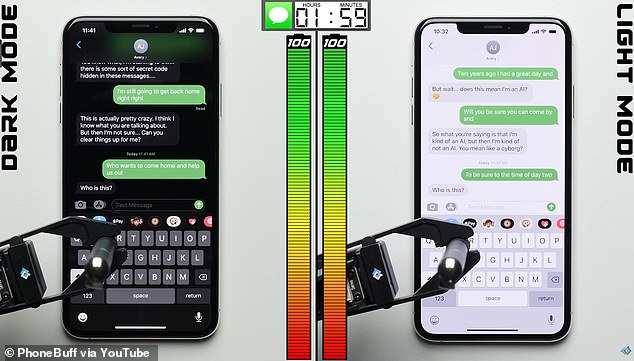 In an experiment shared on YouTube, robotic arms interacted with two fully charged iPhones running ‌iOS 13‌ – one in ‌Dark Mode‌ (left) and the other in Light mode (right) – until the smartphones died