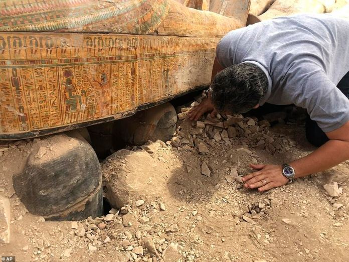 Experts have provided few details of the discovery, but have shared stunning pictures of the vibrant coffins with their vivid inscriptions and paintings. The coffins which are considered one of the 'biggest and most important' discoveries in recent years, are found in the Asasif Necropolis