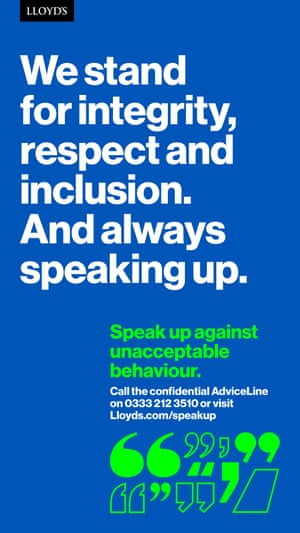 A poster from the Lloyd's of London Speak up campaign
