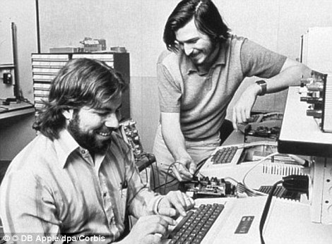 The company's journey to the summit of the technology industry has been a rocky one, having seen Jobs (pictured right in 1976) leave the firm in the mid-1980s after his pet project, the first Macintosh computer, struggled and he attempted to oust then chief executive John Sculley. Wozniak is pictured left