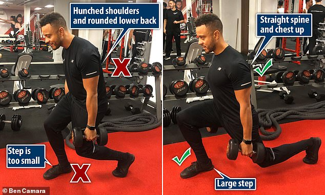 Wrong: Small step and compensation by rounding the shoulders and lower back. Correct: A large step and 'kite' position in the back - straight spine and chest up