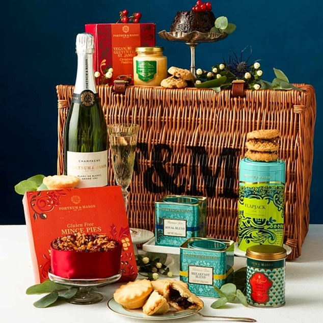 Inside this F&M gluten-free hamper, which costs £150 from fortnumandmason.com, is a selection of gluten-free festive foods