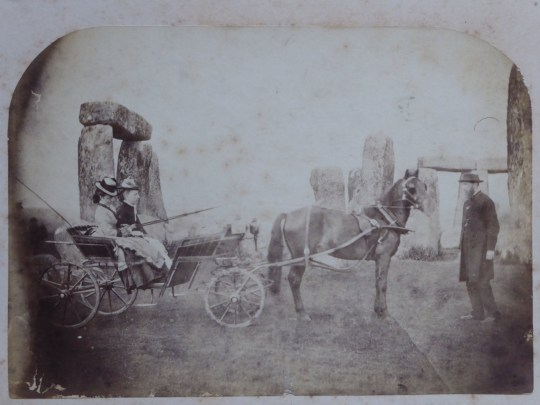 Undated handout photo issued by English Heritage of the earliest known family photograph taken at Stonehenge. The Routh family, who are pictured in a horse and carriage, enjoyed a day out at the stones in 1875. PA Photo. Issue date: Thursday December 12, 2019. 148 photos were selected for the exhibition Your Stonehenge- 150 years of personal photos, which is open from Thursday until August 2020. See PA story ARTS Stonehenge. Photo credit should read: The Routh family/English Heritage/PA Wire NOTE TO EDITORS: This handout photo may only be used in for editorial reporting purposes for the contemporaneous illustration of events, things or the people in the image or facts mentioned in the caption. Reuse of the picture may require further permission from the copyright holder.