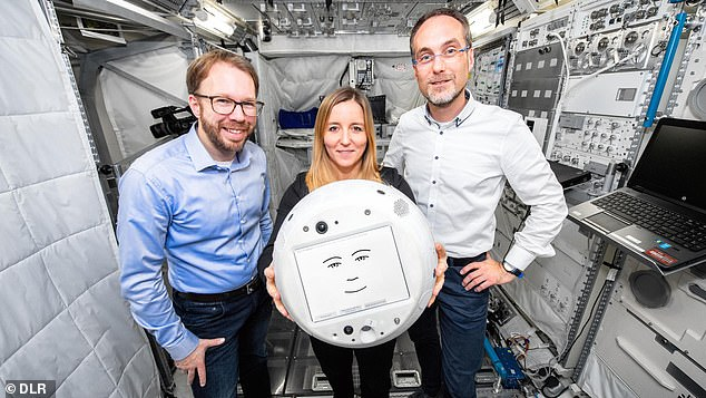 The Crew Interactive Mobile Companion 2 (CIMON 2, pronounced 'Simon,' pictured above) will help astronauts conduct experiments and talk through their feelings