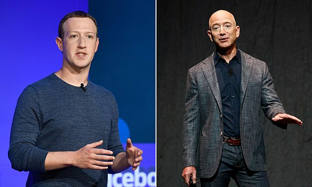 Digging deep:Facebook founder Mark Zuckerberg (left) andAmazon's Jeff Bezos