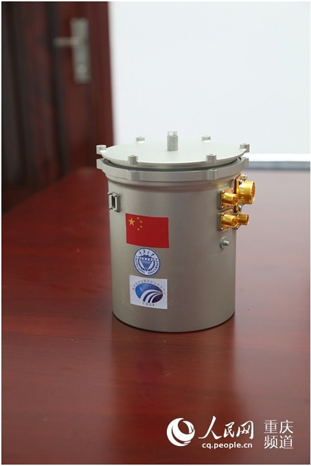 A team of Chinese scientists built a mini-biosphere gardening canister (pictured above) that was used to grow the first ever plant on the surface of the moon, a cotton seed