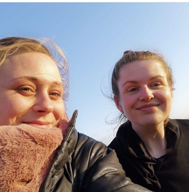 Catherine, pictured with a friend, is going through therapy again and still struggles