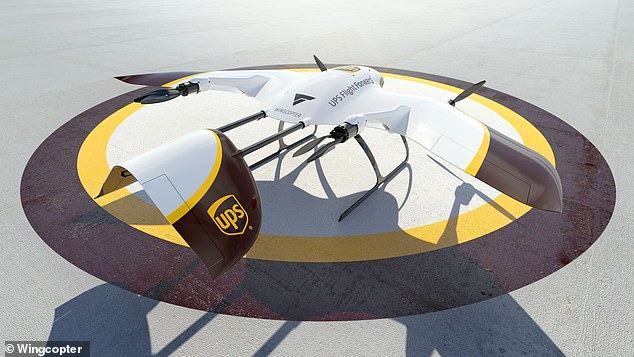 The new UPS drones will be able to quickly land and takeoff, reach top speeds of 150mph and will be able to endure winds of up to 45mph