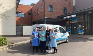 Staff from XITE delivering energy drinks to a local hospital.