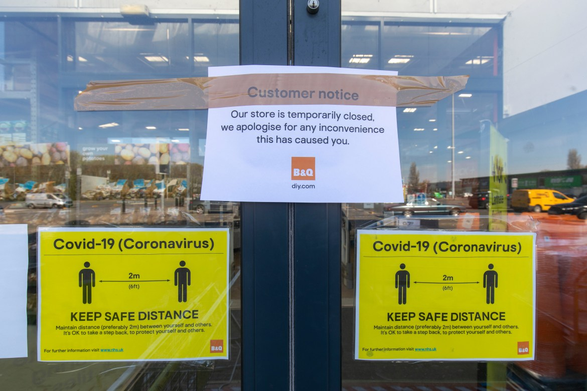 A B&Q store in east London, March 24