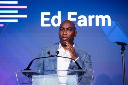 Anthony Oni, chair of Ed Farm, speaks at the Ed Farm announcement. (Nik Layman / Alabama NewsCenter)