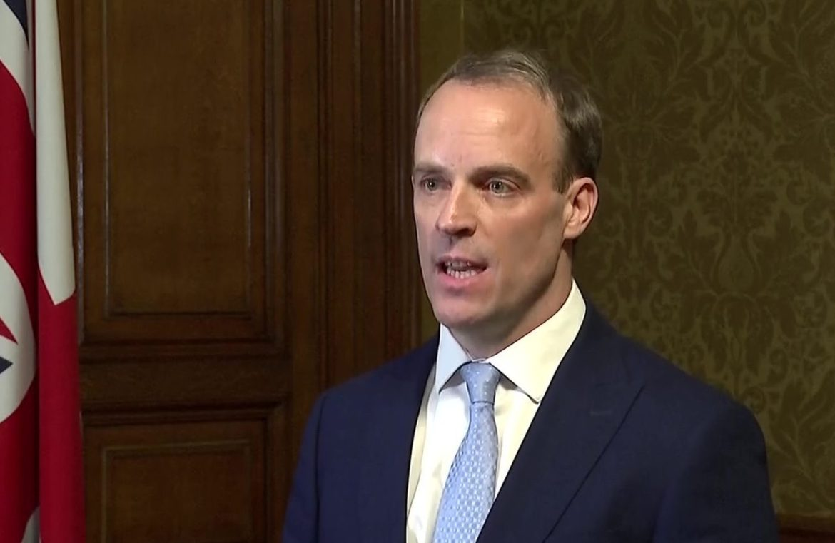 Foreign secretary Dominic Raab is now deputising as prime minister