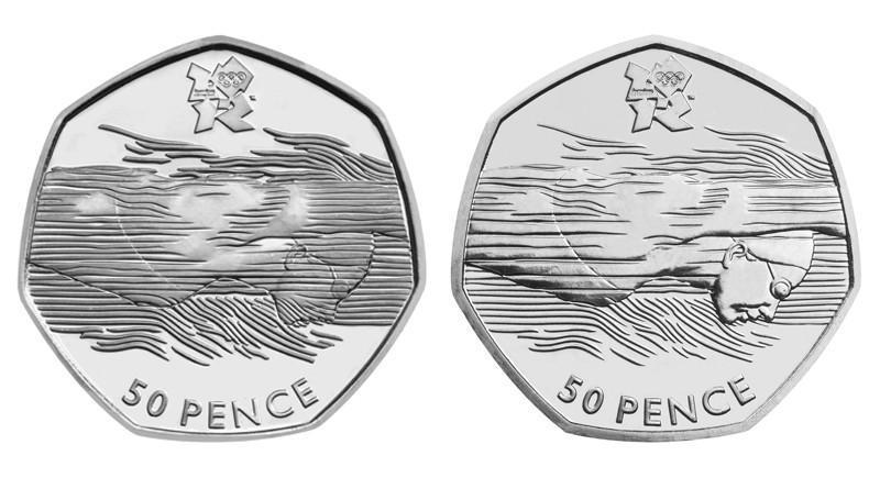 The old design and the new design - it's the error version with water over the swimmer's face that could be worth a fortune