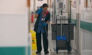 A hospital cleaner, as seen in Guardian Documentary, United Voices