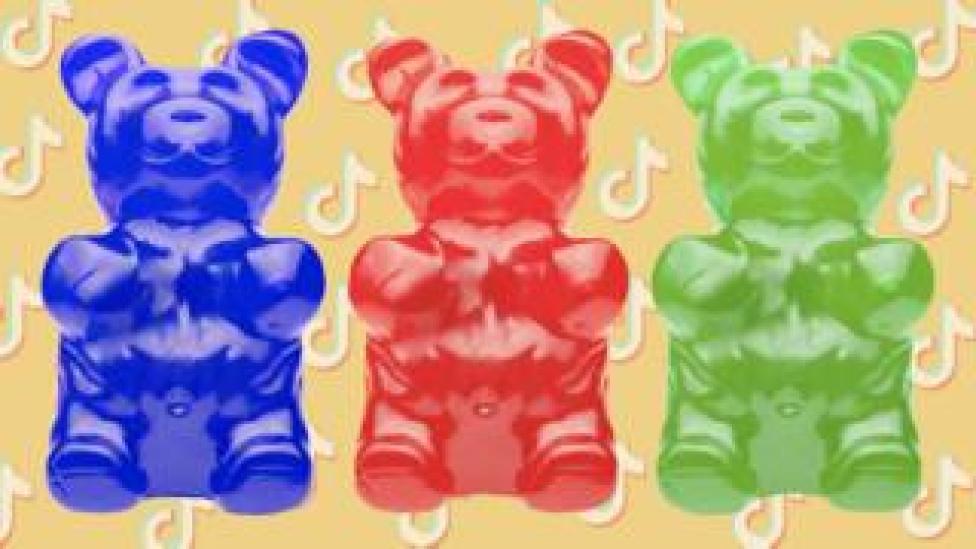 Gummy bears against TikTok logos