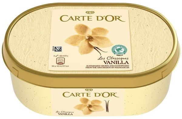 A litre tub of Carte D'Or vanilla ice cream is half price for Clubcard members