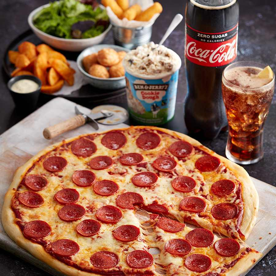 Get a whole pizza, four sides, a large bottled drink and a tub of Ben & Jerry's ice cream for £13 at Asda