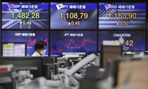 The foreign exchange dealing room of the KEB Hana Bank headquarters in Seoul, South Korea, today