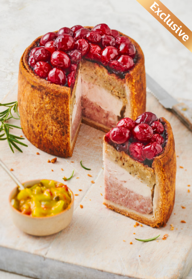 This pie combines both chicken and pork and is topped with cranberries