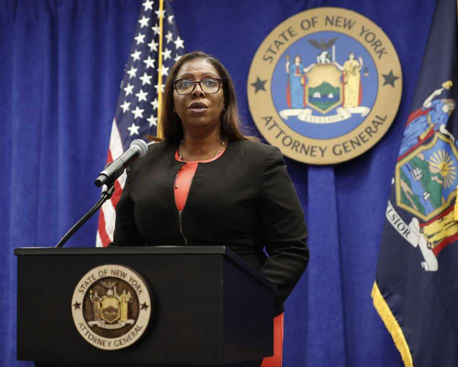 FILE- In this Aug. 6, 2020 file photo, New York State Attorney General Letitia James addresses the media during a news conference in New York. On Friday, Sept. 25, 2020, James recommended the New York Police Department get out of the business of routine traffic enforcement, a radical change that she said would prevent encounters like one the year before in the Bronx borough of New York that escalated quickly and ended with an officer fatally shooting a motorist. Photo: Kathy Willens, AP / Copyright 2020 The Associated Press. All rights reserved.