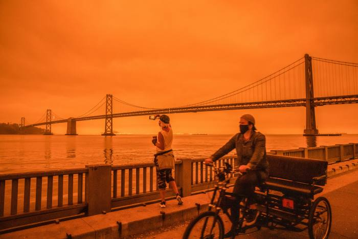 The effects of wildfires in northern California last month are seen in San Francisco