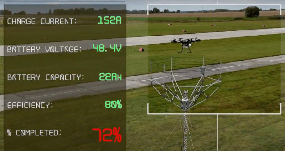 An example of the wireless in-air drone charging station in operation.