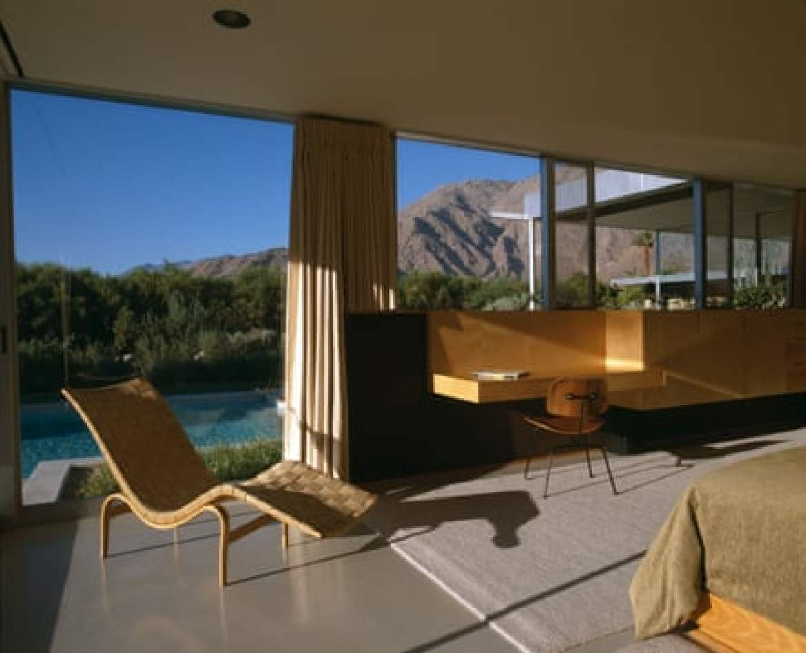 A bedroom in the Kaufmann Desert House. The current owner of the home is Brent Harris, who bought the home with his ex-wife in 1993 for $1.5m.