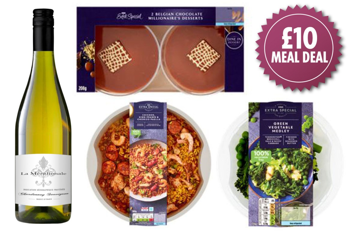 Asda is giving shoppers a change to bag a main, side, dessert and bottle of wine for just a tenner