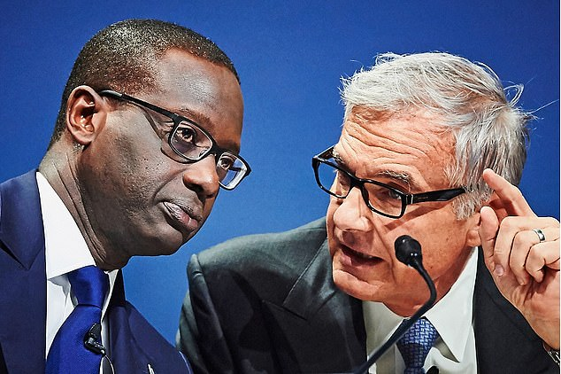 Credit Suisse's then-boss Tidjane Thiam, left, walked out of chairmanUrs Rohner's, right, 60th birthday party aftera black performer dressed as a janitor to dance on stage