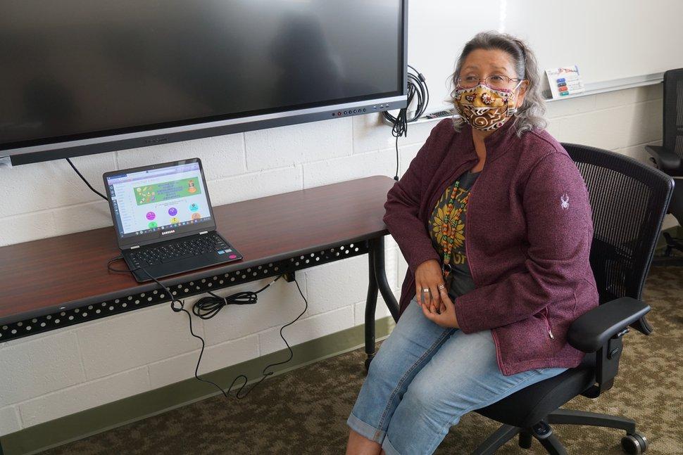 (Zak Podmore | The Salt Lake Tribune) Kindergarten teacher Lupe Hanson explains the online platform Canvas she uses to teach her students remotely from Bluff Elementary School. Friday, Oct. 23, 2020.