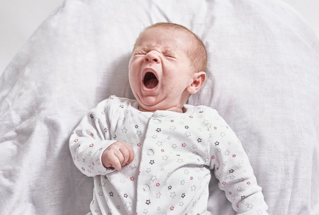 A studio portrait of a month old baby yawning
