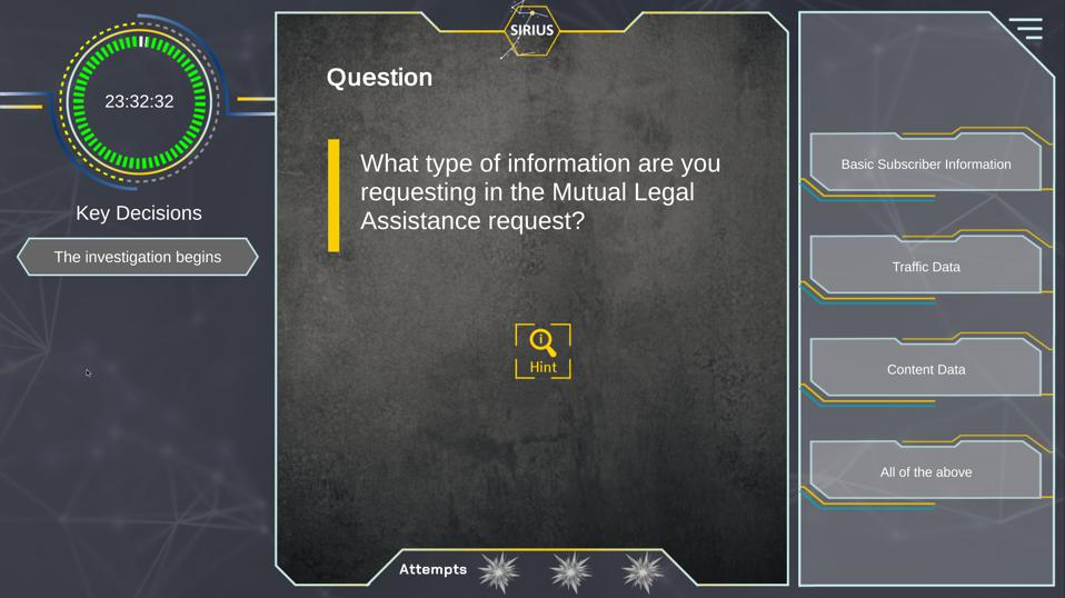 SIRIUS Europol law enforcement data request game.