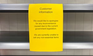 A sign in a Tesco store in Cardiff.