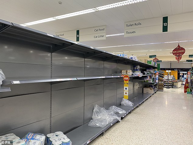 Panic buyers came across empty toilet roll shelves in supermarkets throughout the country