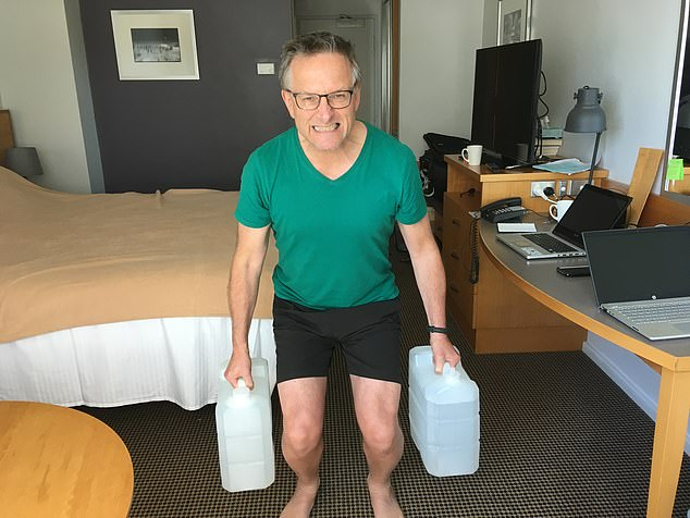 I use a free app called 7 Minute Workout, which offers a high-intensity interval training (HIIT) programme with 30 seconds of exercises, such as squats with a ten-second breather. To make these exercises more challenging I use the water bottles we've been given as weights (each is about 20lb when full). Then I have a cold shower