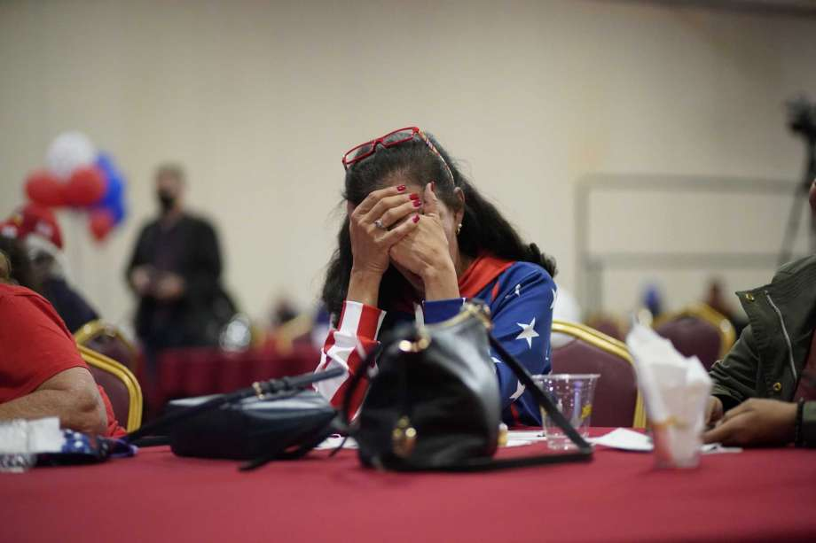 President Donald Trump supporter Loretta Oakes reacts while watching returns in favor of Democratic presidential candidate former Vice President Joe Biden, at a Republican election-night watch party, Tuesday, Nov. 3, 2020, in Las Vegas. Photo: John Locher, AP / Copyright 2020 The Associated Press. All rights reserved.