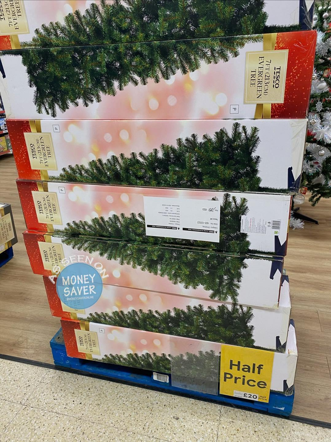 Tesco has slashed the price of Christmas trees and lights by up to 50%