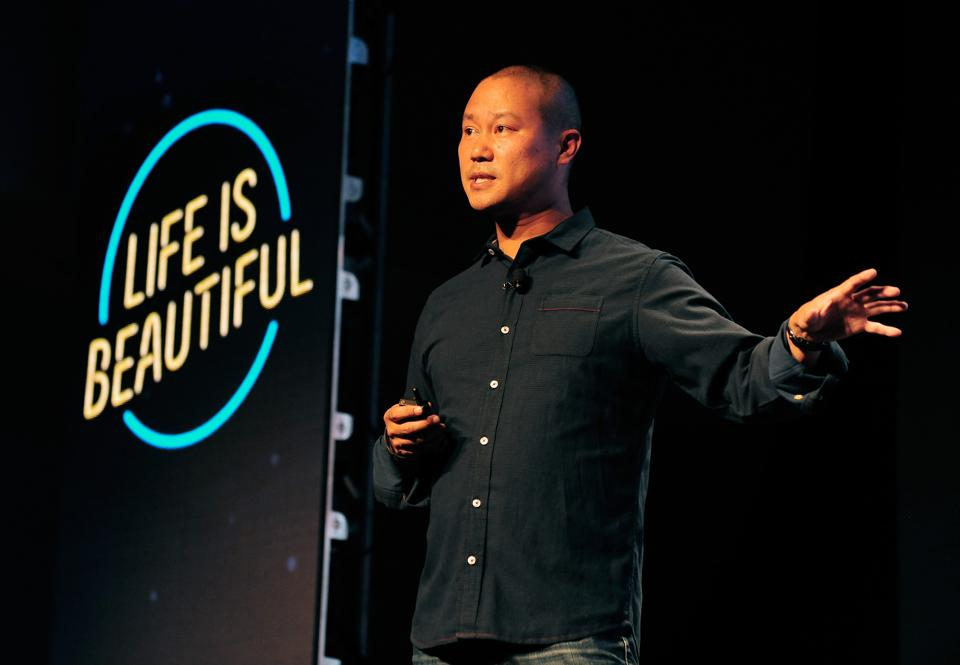 Zappos CEO Tony Hsieh speaking at the Life Is Beautiful festival in Las Vegas in 2015.